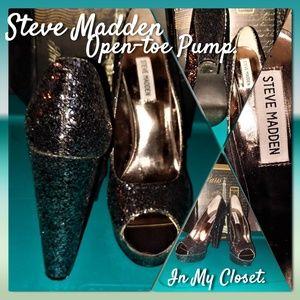 Steve Madden Alice Glitter Open-toe Pump Sz 8.5